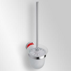 Trend-i - Perie pentru wc cu vas din sticlă (roşu)