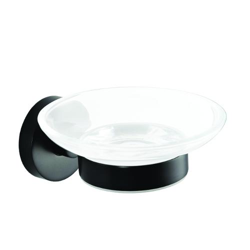 Dark - Savonieră din sticlă, cu suport metalic negru