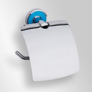 Trend-i - Suport cu capac pentru hârtia igienică (bleu)