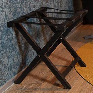 Suport pentru bagaje din lemn (negru)