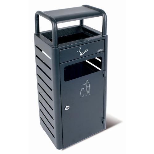 Coș de gunoi cu scrumieră (pentru exterior, fixare în sol)